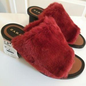 New! Zara Faux Fur Mules